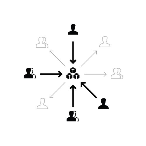 来自多个产品团队的设计师一起在系统中工作。