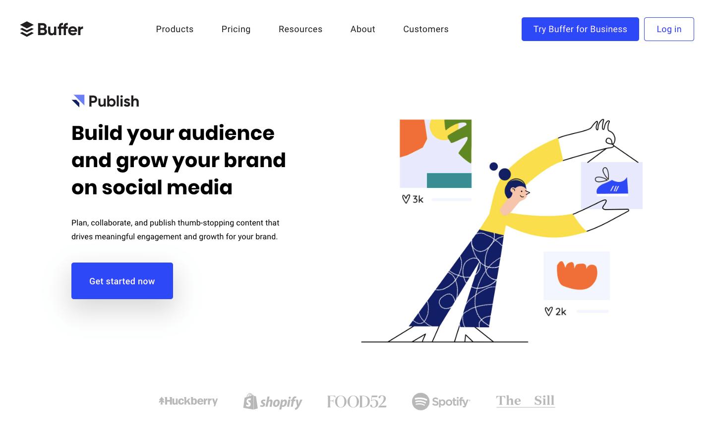 Buffer网站,简单且扁平化,但是又不为过