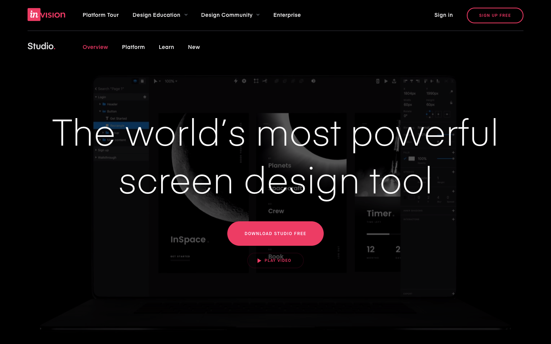 InVision Studio主页清晰整洁,但如果需要,还可提供其他信息。