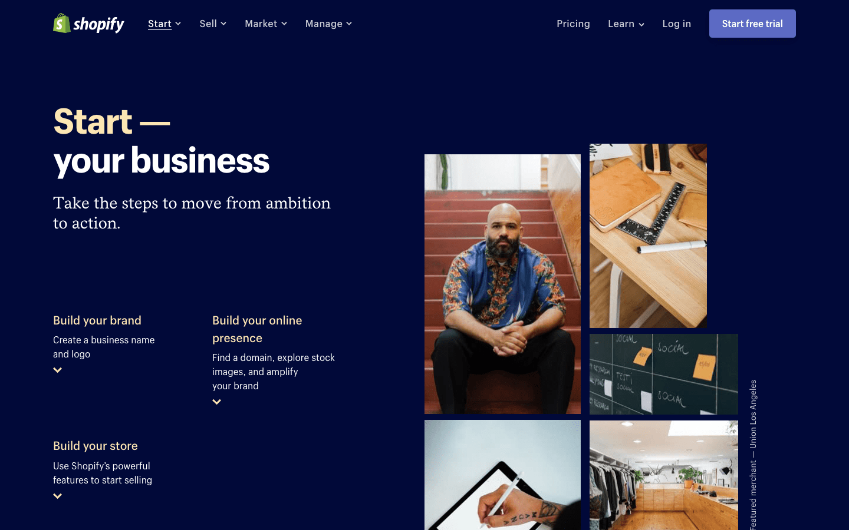 决定创业可能是一个情绪化的决定。Shopify网站通过使用出色的图像和美丽大胆的色彩强化了这一事实。