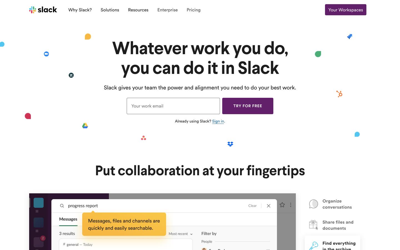 Slack的白色背景使文字和按钮更加生动