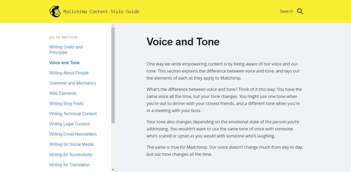 MailChimp的声音和音调。